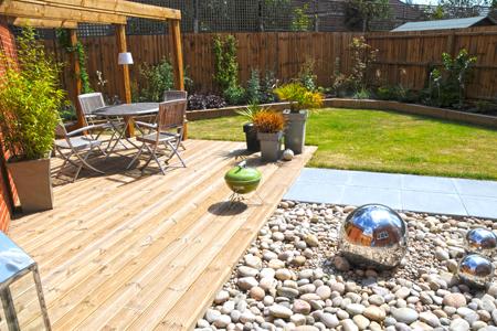 Modern garden with seating area norfolk landscapes ltd for Garden design norfolk