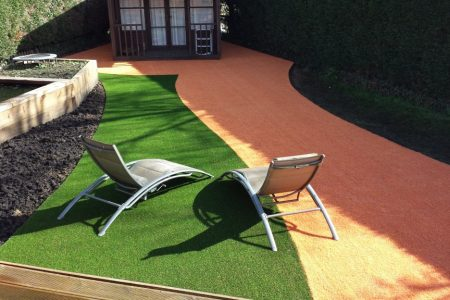 Two coloured artificial turf