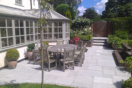 Grey indian paving and steps